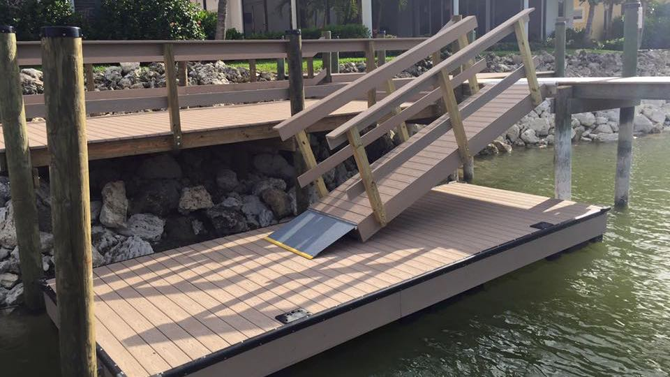 Multi-level dock and deck with custom designed Floating Dock.