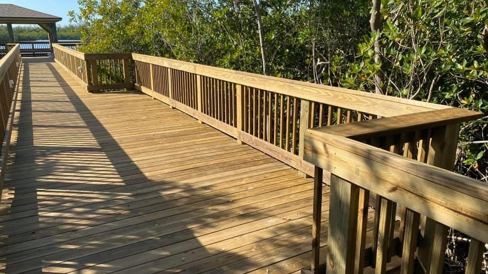 observation walkway constructed from pressure treated lumber